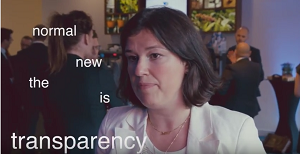 Screencapture from the embedded video within this blog of  a woman looking into the camera with the words 'transparency is the new normal'.