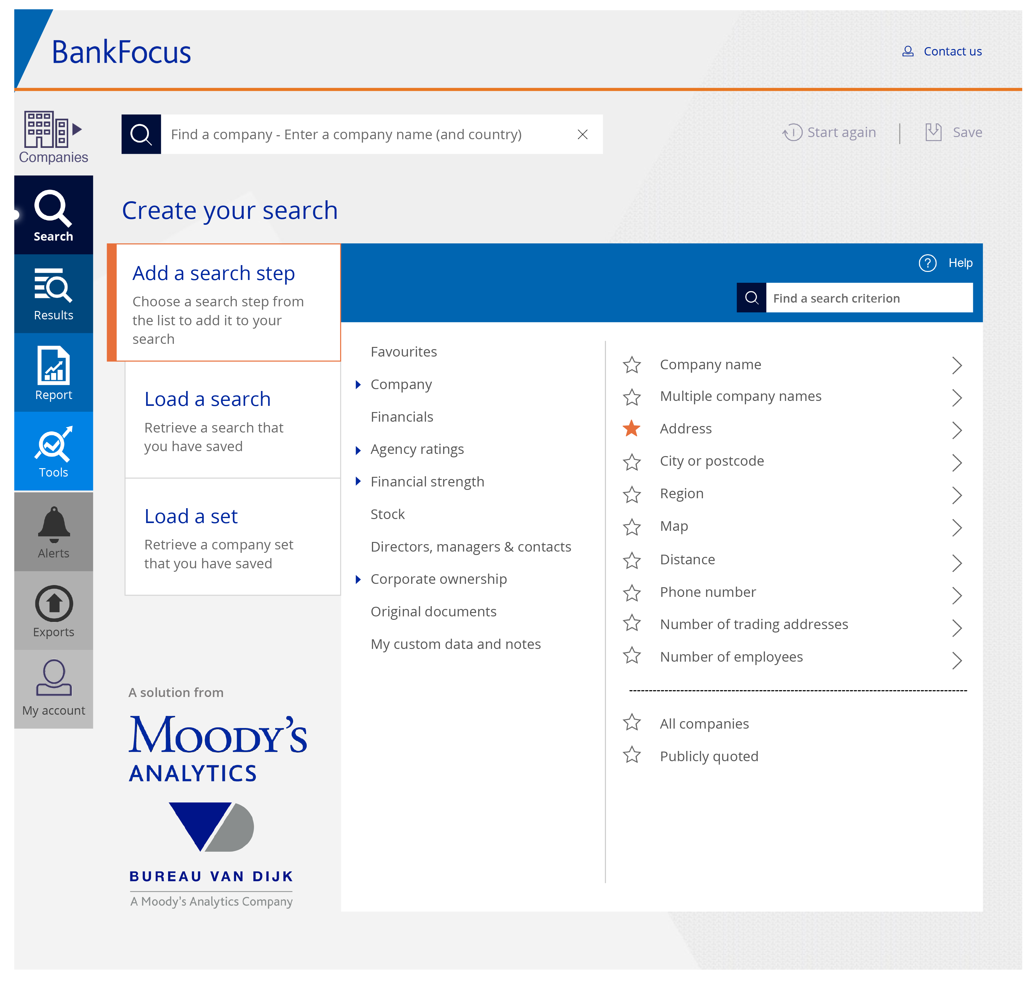 BankFocus interface